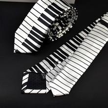 Мужской черный и белый галстук-бабочка с пианино, Классический тонкий музыкальный галстук