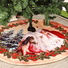 Christmas Tree Skirt Snow Plush Tree Skirt Scene Layout Supplies Merry Christmas Decor Christmas Tool christmas snow night tree antiskid bath rug