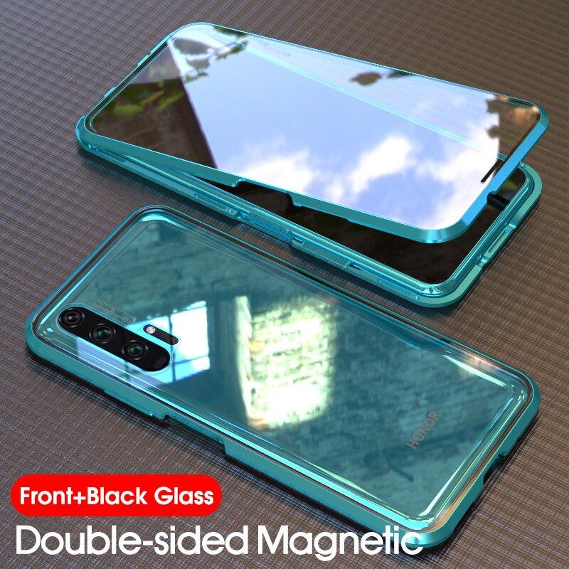 Double-sided Ímã 360 Completo Caso Capa Protetor Honra 20 20 Temperado Vidro Da Frente Para Trás Para Huawei Honra Pro 20 Caixa transparente
