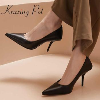 Krazing pot new summer full grain leather pointed toe super high thin heel art design gentlewomen party lace up high heels L06