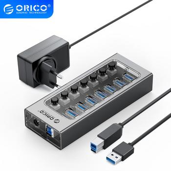 цена на ORICO Industrial USB 3.0 HUB 7/10/13/16 Aluminum + Transparent USB Splitter On/Off Switch With 12V Power Adapter Support Charger