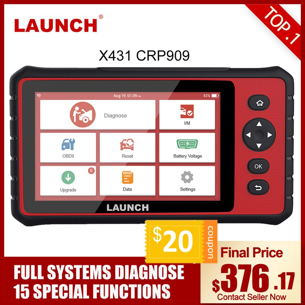 LAUNCH X431 CRP909 OBD2 Car Diagnostic Scanner Professional OBD2 Scanner Airbag SAS TPMS EPB IMMO Reset Auto Code Reader LAUNCH