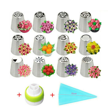 12Pcs Russian Icing Piping Nozzles Stainless Steel Flower Cream Cake Pastry Tips Leaf Nozzles Silicone Bag Cupcake DIY Dessert sophronia 90pcs set pastry nozzles and korean style stainless steel pastry piping nozzles tips russian tulip set cs096