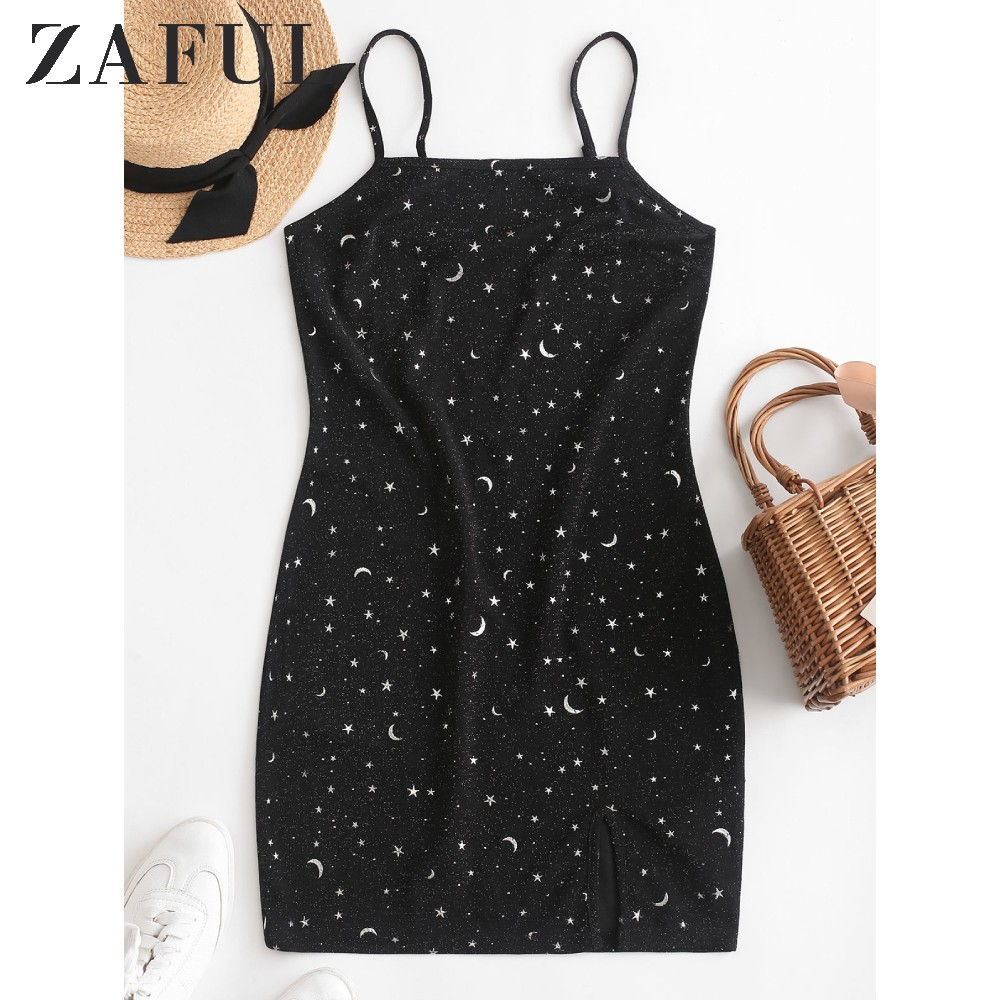 ZAFUL Moon And Star Metallic Thread Cami Slit Dress Starry For Women Sleeveless Spaghetti Strap Ladies Bodycon Casual Mini Dress
