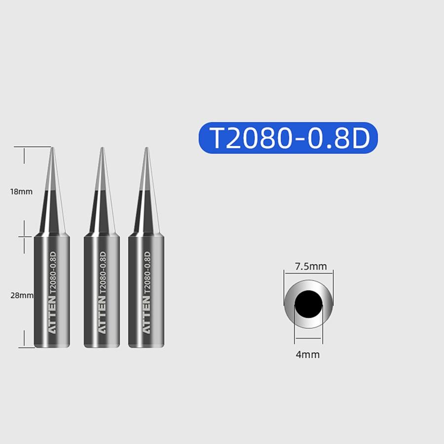 ATTEN Soldering Iron Tip Replacement Bit Head K B I 3C 5C 6.4C 3.2D 4.6D 6.5D 0.8D 1.6D 1.2D Lead Free for ST-2080 ST-2080D 6