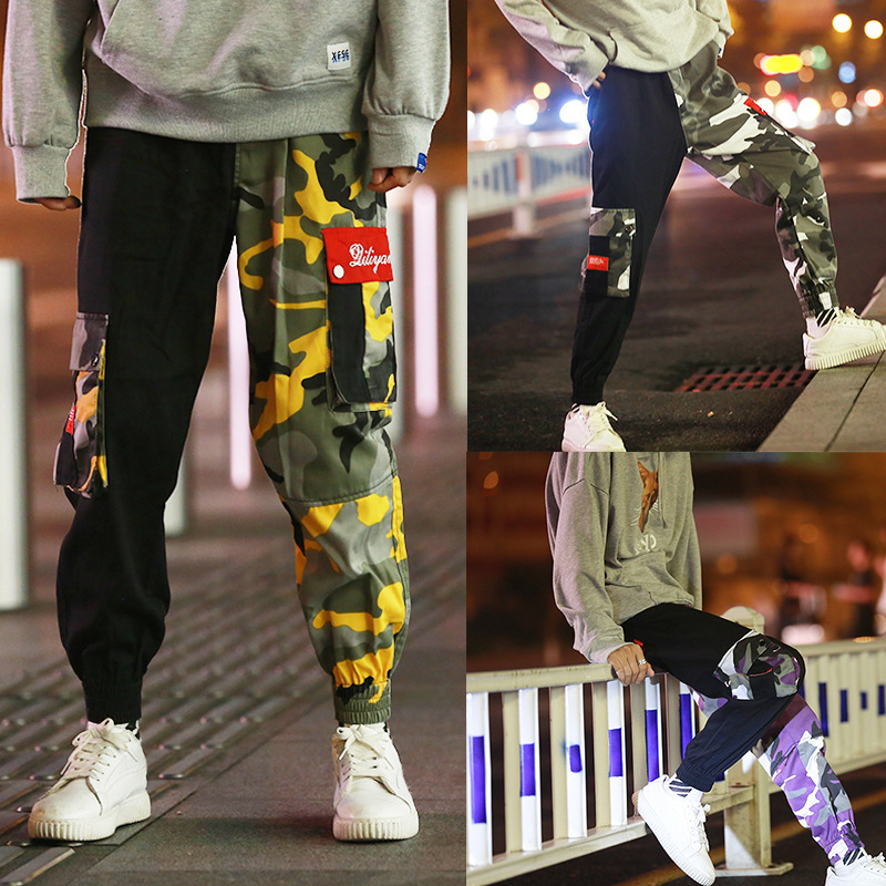 2019 Super Fire Camouflage Workwear Pants Men's Hip Hop Trend Ankle Banded Pants Loose-Fit Mixed Colors Casual Pants