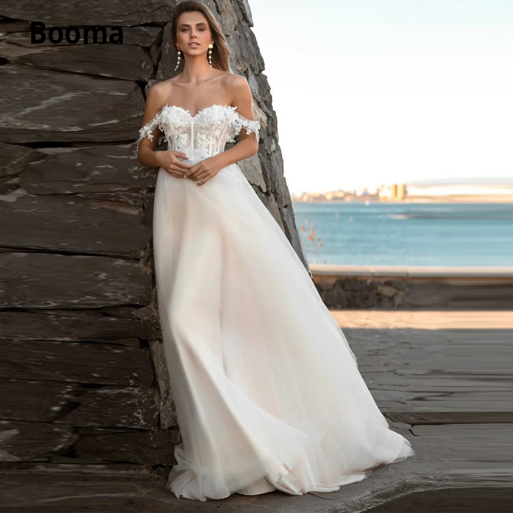 Booma Off the Shoulder Wedding Dresses Lace 2019 Sleeveless Open Back Beach Bridal Gown Princess Boho Wedding Gowns Plus Size