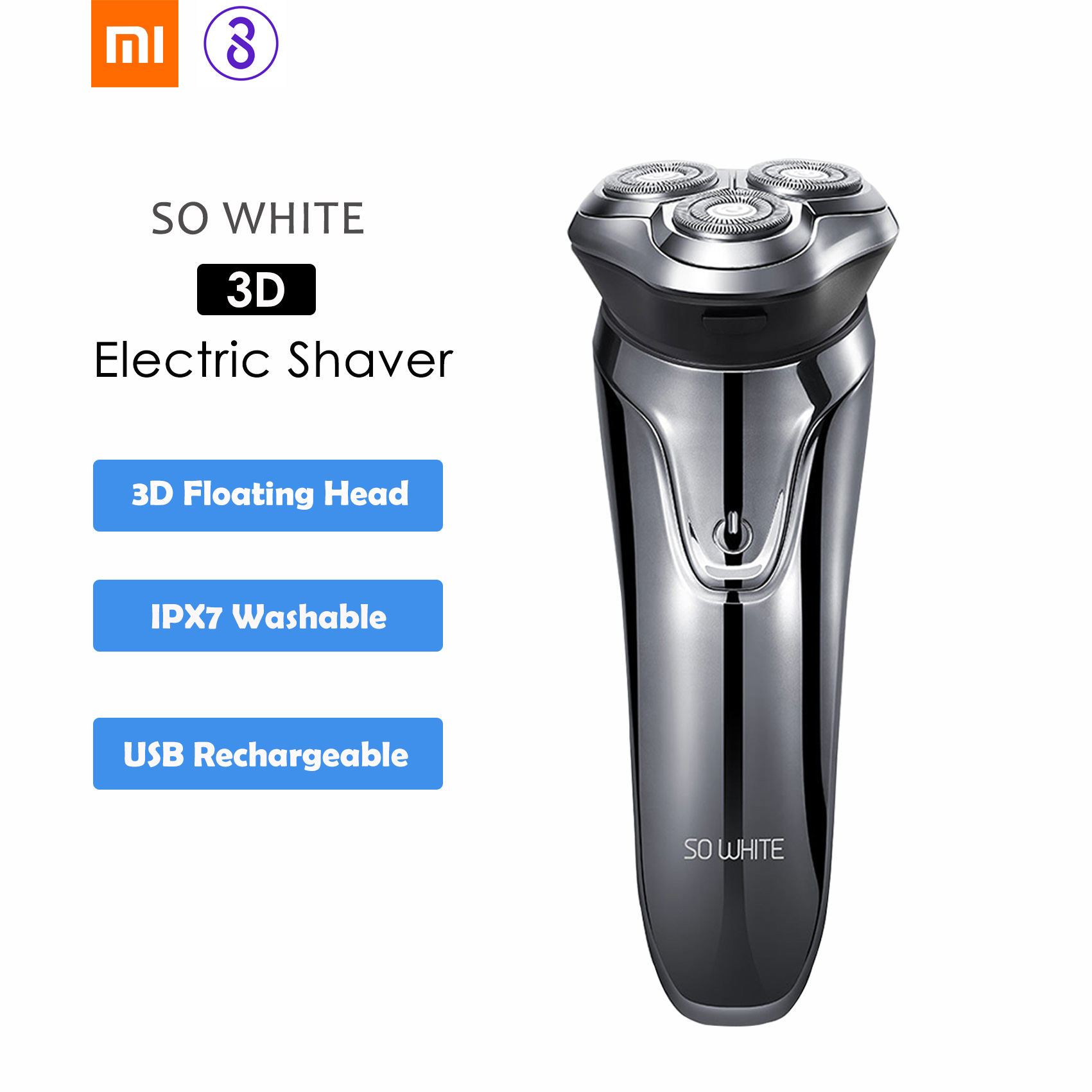Soocas SO WHITE ES3 Electric Shaver Razor Washable USB Rechargeable Wireless 3D Smart Control Shaving Machines For Men