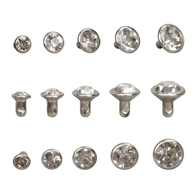 30-100Sets 5-11.2mm Silver Crystal Trim Rhinestone Garment Rivets Diamante Stud DIY Crafts Leather Decor Spikes Glass Drill Nail