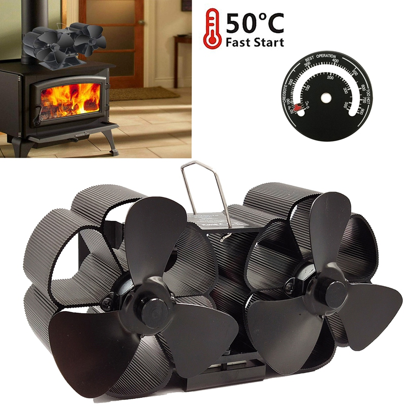 Promotion! 8 Blade Heated Powered Stove Fan Fireplace Fans Wood Stove Fan Twin Motor With Magnetic Themometer