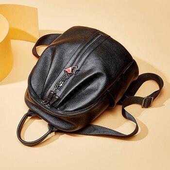 Lady 100% genuine cowhide lady backpack jacket leather backpack travel book shopping bag black bag