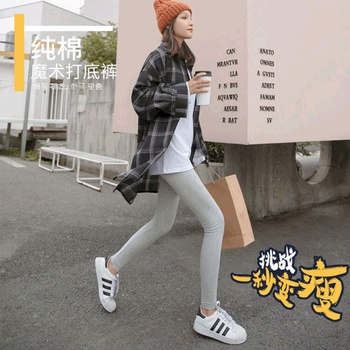 2020 spring and autumn new grey cotton Leggings women wear thin Capris in summer and plush in winter image