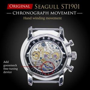 Image 4 - RED STAR 42mm Mens Chronograph Watches ST1901 Movement with Gooseneck Device Clock 21 Zuan Men Mechanical Hand Wind Wrist Watch