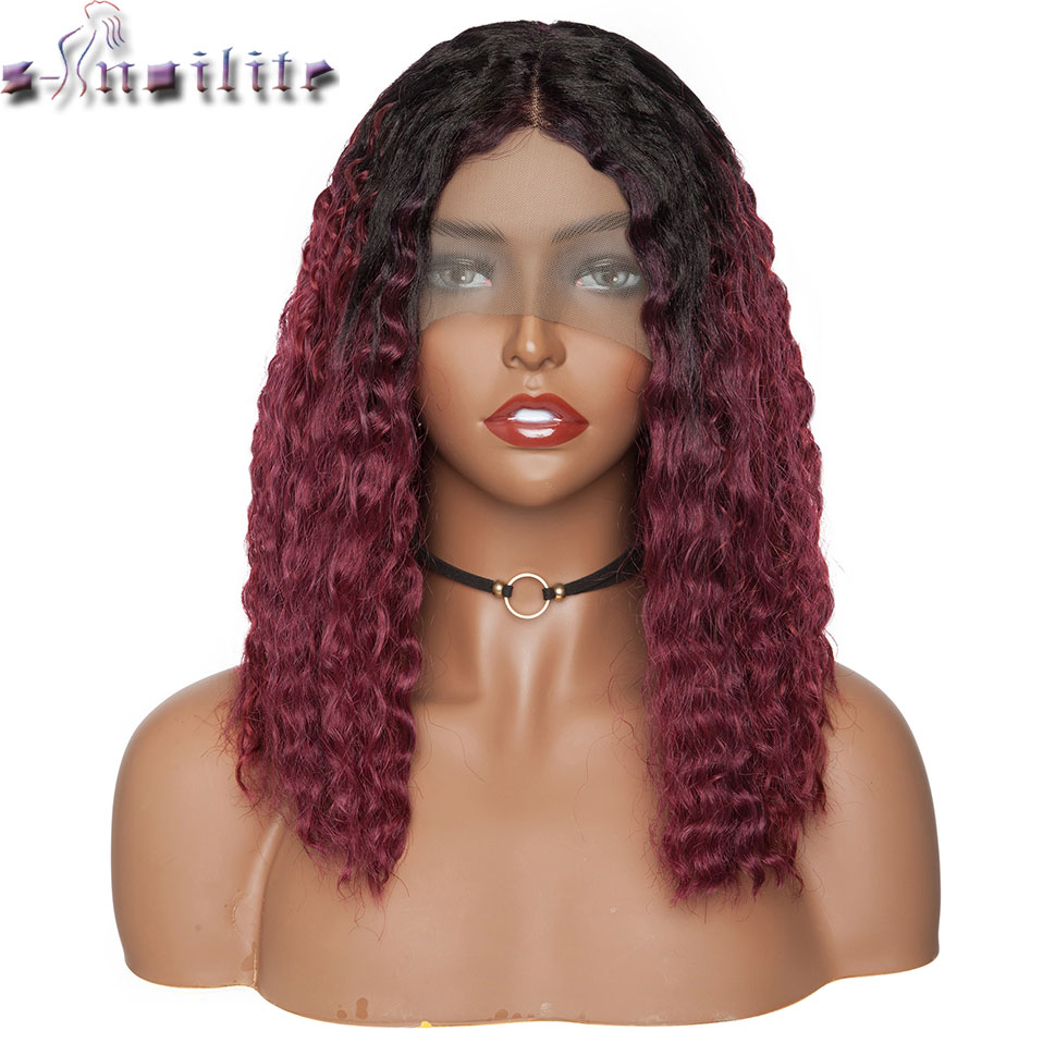 S-noilite 14inch Kinky Curly Synthetic Lace Front Wig Deep Part 4*0.6 Wine Red Short Bob Wig Short Wig For Black Women
