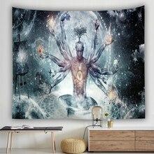 Индийский Будда статуя гобелен настенная Мандала гобелены настенная ткань коврик для йоги украшение дома богемное художественное одеяло