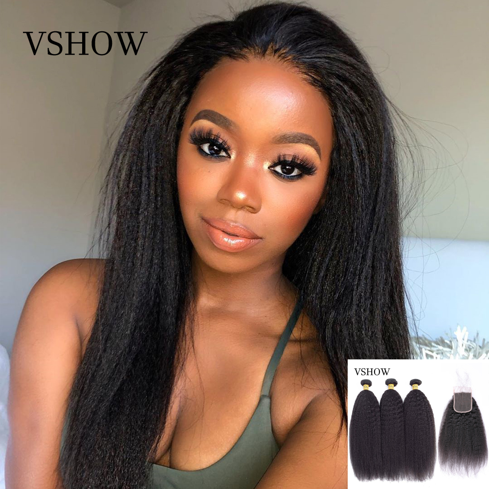 Kinky Straight Hair Bundles With Closure VSHOW 3/4 Bundles With Closure Yaki Human Hair Weaves Remy Hair Bundles With Closure