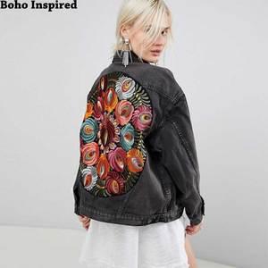 Boho Inspired Oversized multi floral Embroidered Denim Jacket long sleeve casual chic jacket coat women 2020 new winter coat(China)