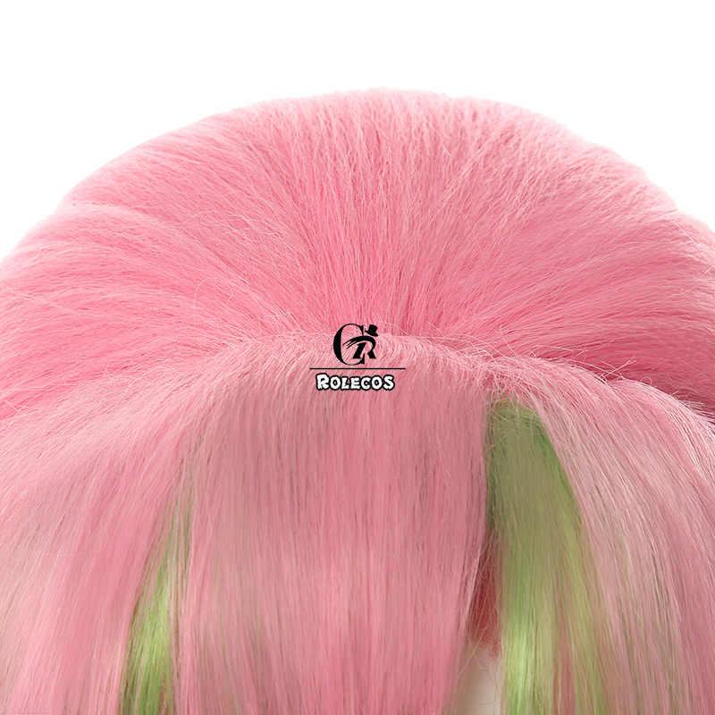 Rolecos аниме Demon Slayer косплей волос Kanroji Mitsuri косплей длинные волосы Kimetsu no Yaiba Женские синтетические волосы розовый зеленый оплетка