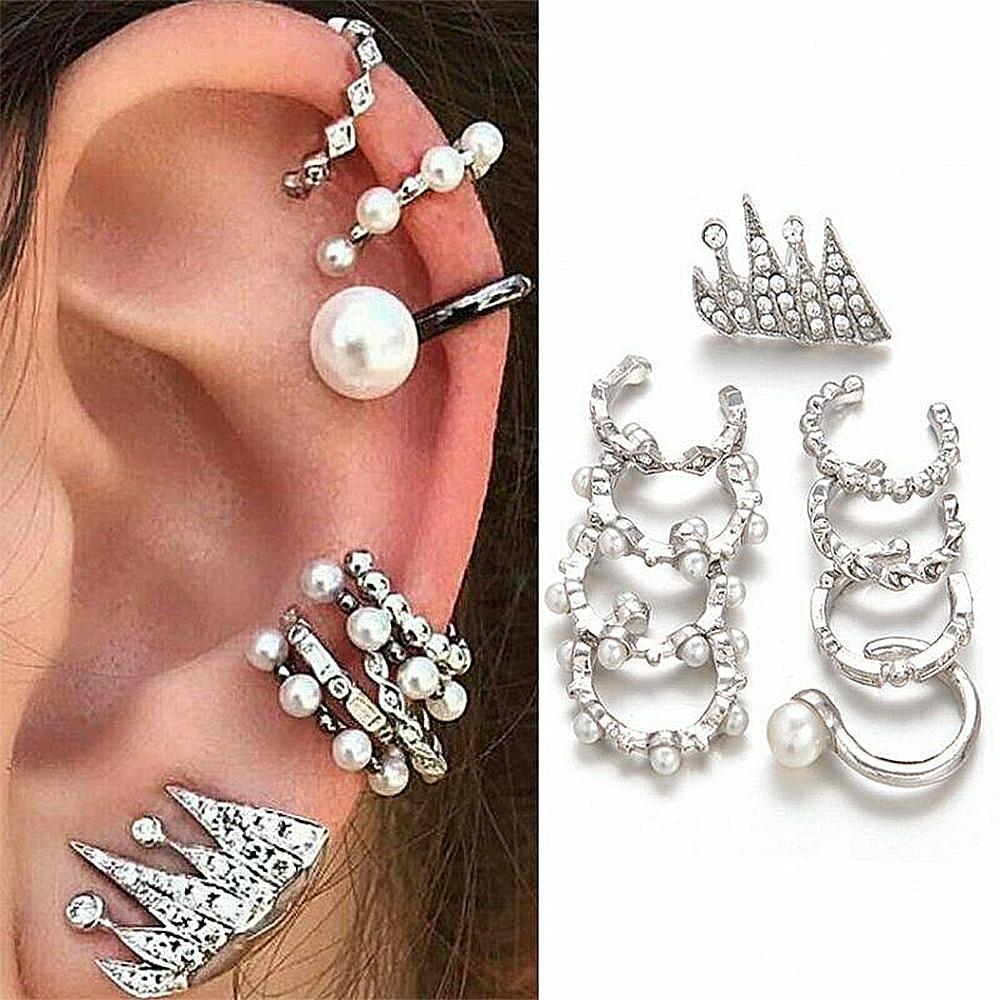 9PCS/Set Fashion Pearl Ear Clip Ear Cuff Stud Crystal Ear Earrings Jewelry For Women Girl trepadores oreja Clip On Earring