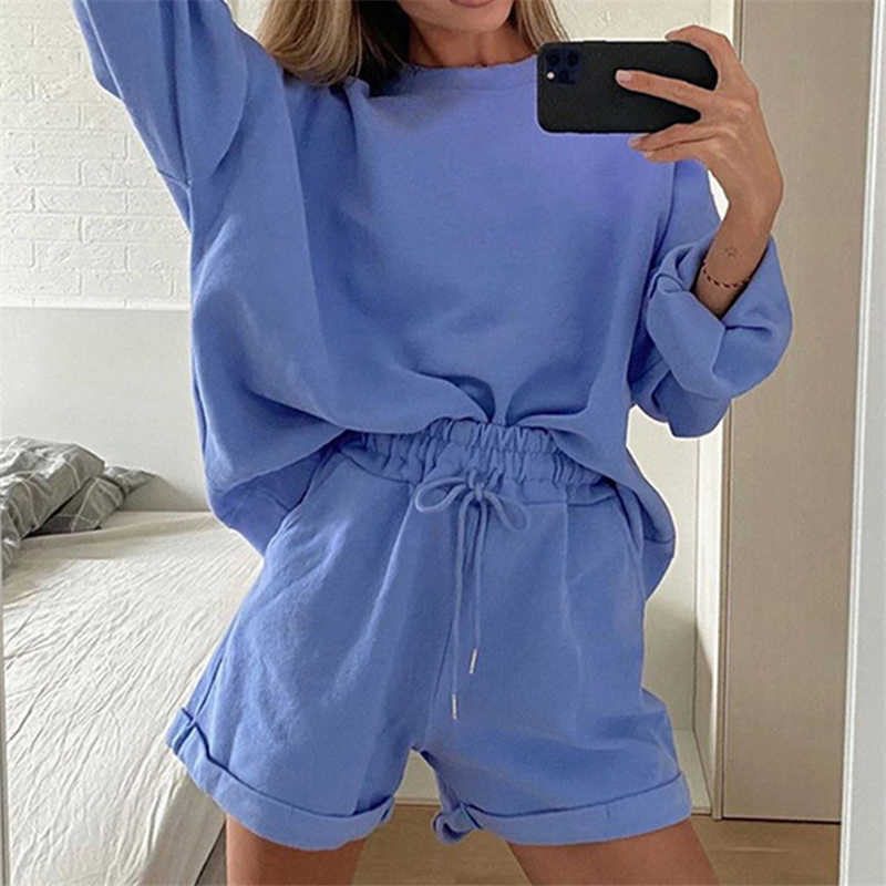 Sportswear Cotton Two-Piece Set Women/'s Suit Sweatshirt /& Shorts Set High Waist Shorts Oversized,90s Style,Sport Chic Suit with Shorts
