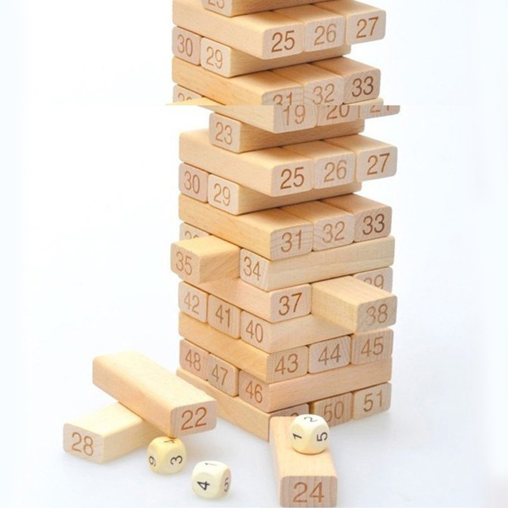 54 Pcs Wooden Blocks Number Toppling Timbers Game Toys Stacking Blocks Stacking Tower Funny Lawn Yard Game Educational Toy Gift