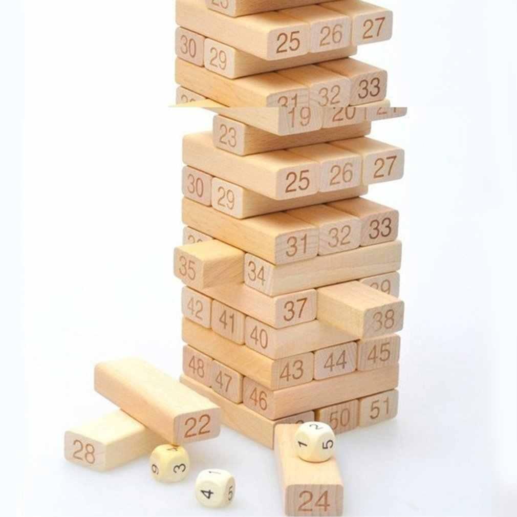 54 sztuk drewniane bloczki liczba Toppling Timbers zabawki do gier bloki do układania w stosy wieża do układania Funny Lawn Yard gra zabawka edukacyjna prezent