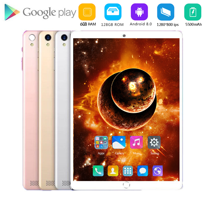 10.1 Inch Kids Tablets Android 8.0 MT6753 8 Octa Core Ram 6GB ROM 128GB 5MP 3G 4G LTE SIM Tablet PC Wifi GPS Bluetooth 4G Phone
