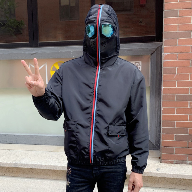 Men Jacket Spring Big Size 4xl Protective Windbreaker Jackets Women Motorcycle Hooded with Glasses Mask Male Coat Thin Korean 1