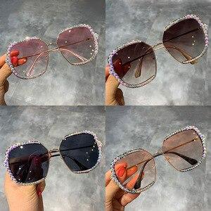 Image 5 - 2019 Europe And America Luxury Sun Glasses Womens Square Rhinestone Sun Glasses Sunglasses