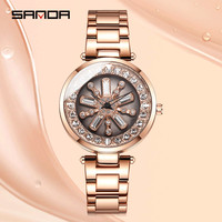 SANDA Rotate Diamond Women's Watches Women Stainless Steel Quartz Watch Ladies Crystal Wristwatch Female Clock Relogio Feminino