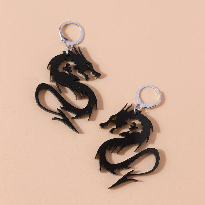 Çin tarzı Metal akrilik ejderha küpe Punk serin altın gümüş renk ayna yüzey hayvan damla küpe kadınlar takı için