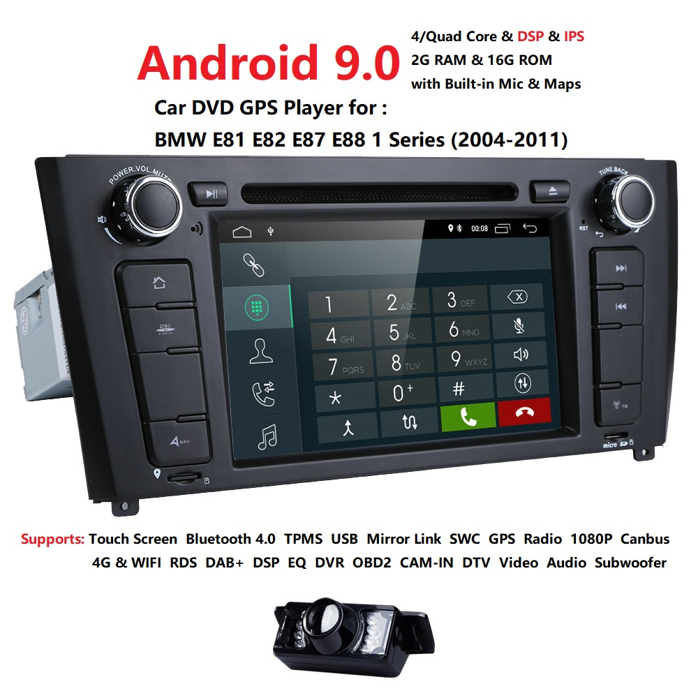 Quad Core Android 9.0 Car DVD GPS Radio Player For BMW/E82/E88r/1 Series IPS 2G ROM 16G ROM64GB Wifi FM DAB OBD Multimedia Stere
