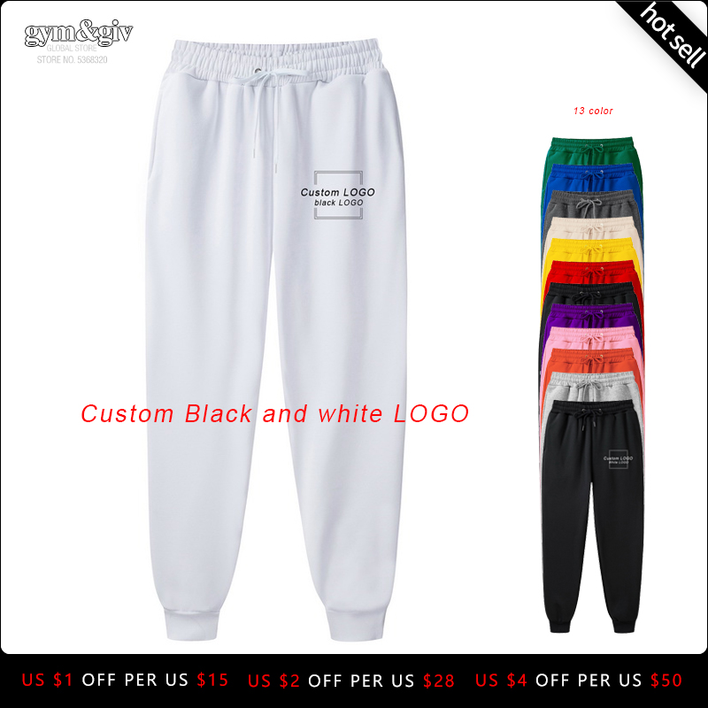 Men's High Quality Men Pants Custom Black And White LOGO  Casual Pants Bodybuilding Clothing Casual Sweatpants Joggers Pants