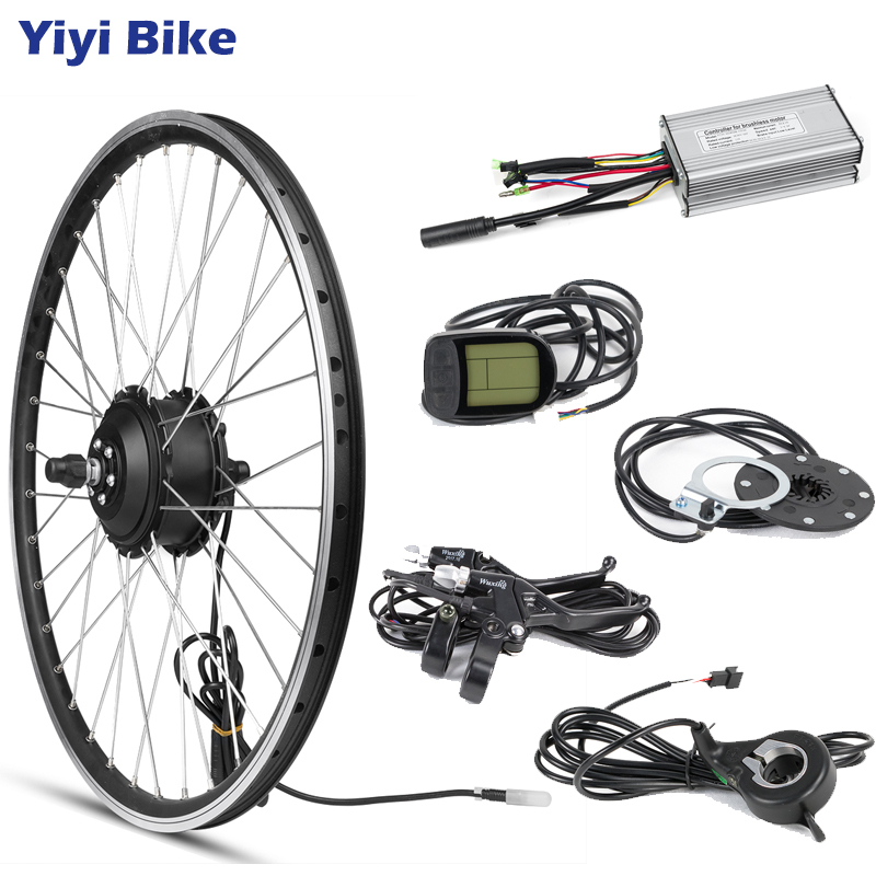 """ebike Conversion Kit Front Wheel Electric Bicycle 48V 500W e Bike Motor Controller with Display KT LCD3 Road Bike Wheels 20 28""""