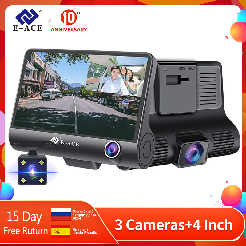 E-ACE <font><b>Car</b></font> <font><b>Dvr</b></font> 4.0 <font><b>Inch</b></font> Dash Cam FHD 1080P Video Recorder <font><b>Car</b></font> <font><b>Camera</b></font> Auto Dashcam With Rear View <font><b>Camera</b></font> Registrator Dvrs image