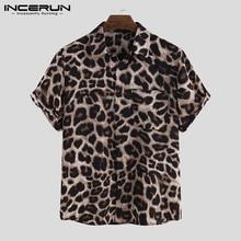 Casual Leopard Printed Men Shirt Short Sleeve Party 2021 Camisa Lapel Summer Fashion Mens Hawaiian Shirts Streetwear INCERUN 5XL