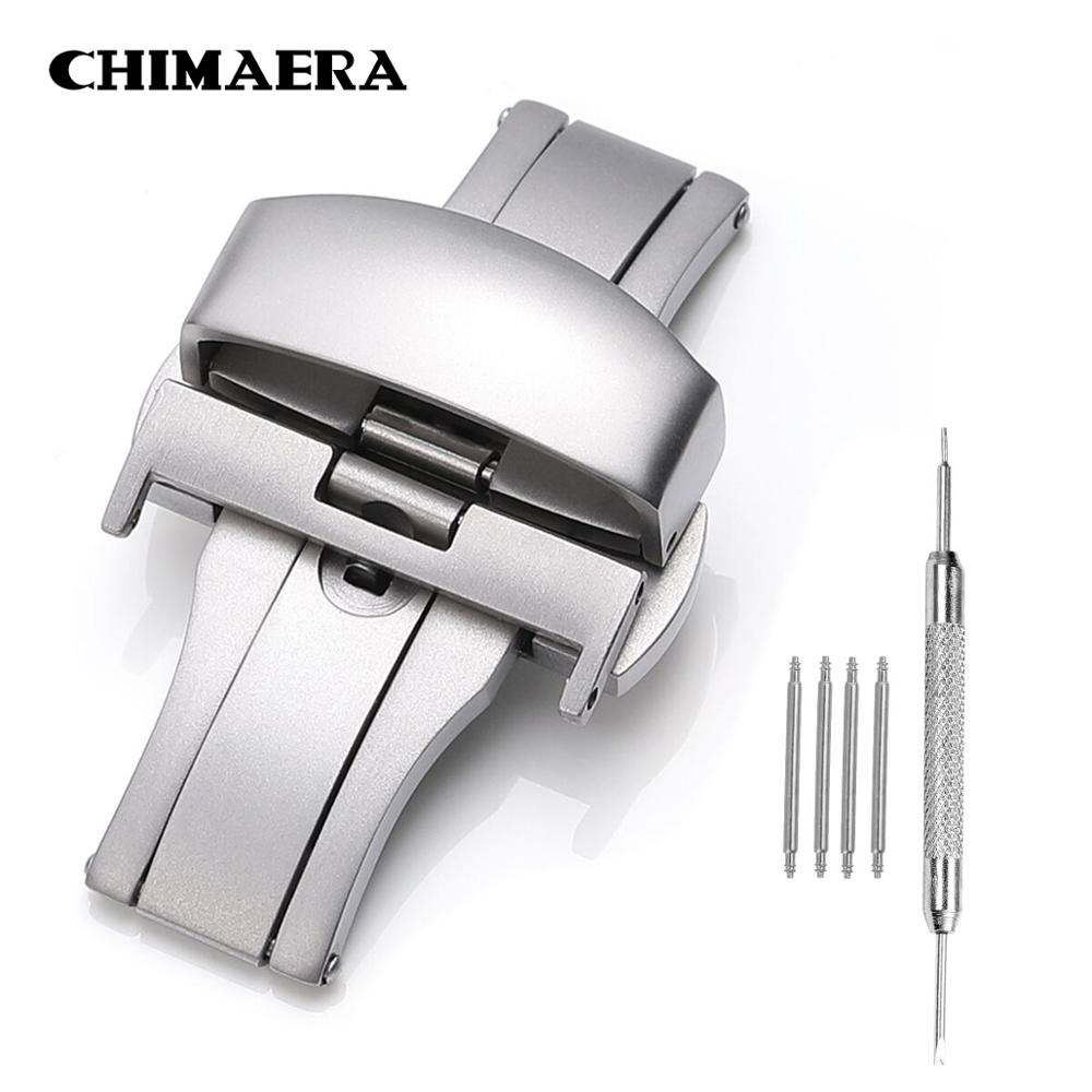 CHIMAERA Brushed Watch Buckle For Watchband 18 20 22mm Double Push Butterfly Deployment Buckle With Tools