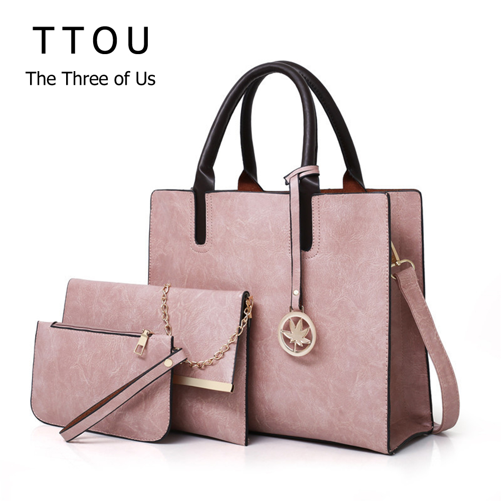 3Pcs/Set Women Fashion Top-Handbag Design Pu Leather Ladies Shoulder Bag Large Solid Capacity Clutch Bags For Female Travel