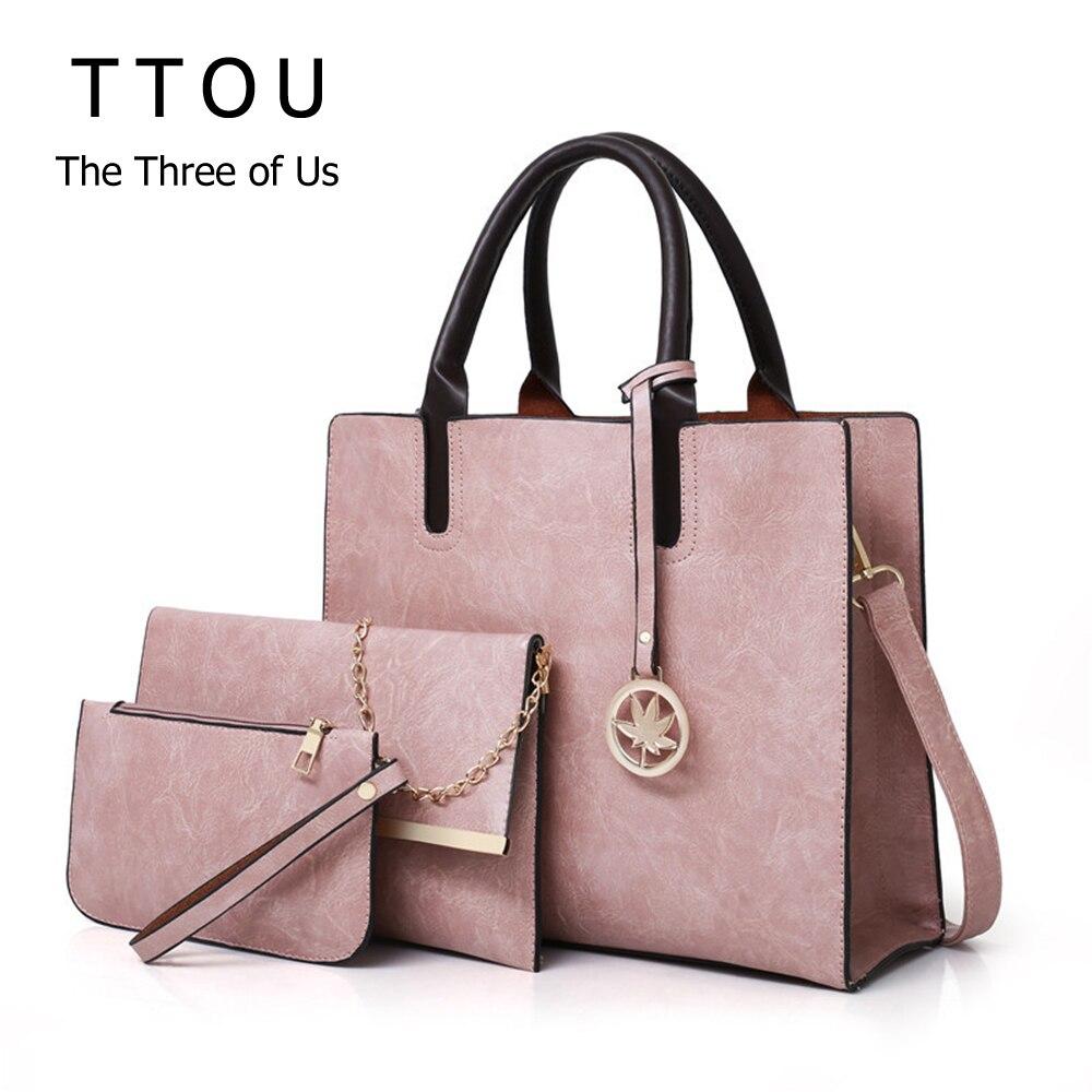 3Pcs/Set Women Fashion Top-Handbag Design Pu Leather Ladies Shoulder Bag Large Solid Capacity Clutch Bags For Female Travel