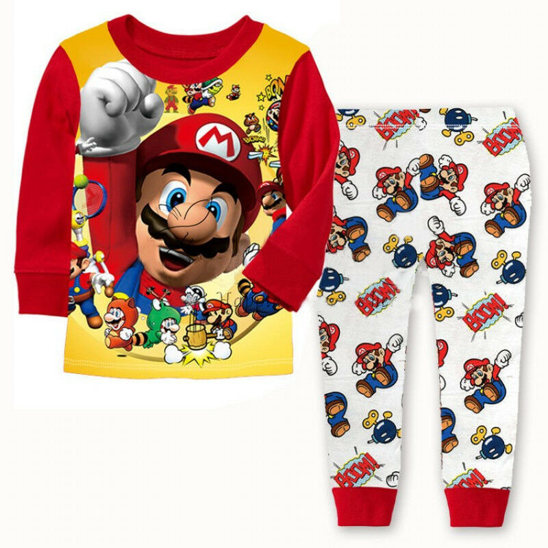 2PCS Cartoon Kids Toddler Boys Super Mario Cotton Sleepwear Nightwear Pajamas Set 1-7 Years