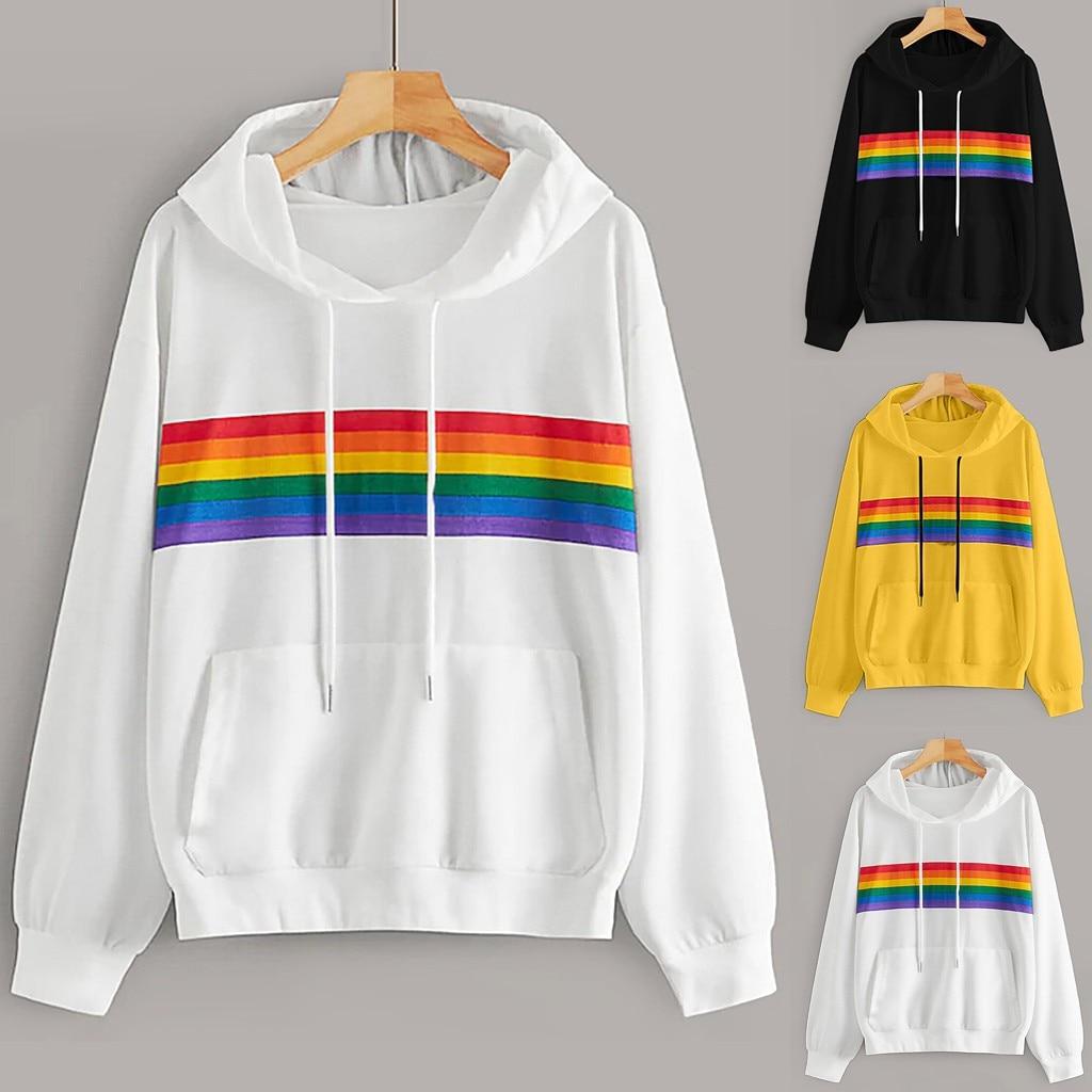 Rainbow Stripe Print Hoodie