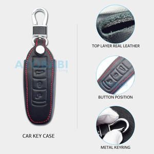 Image 3 - Leather Car Key Case For Porsche Cayenne 911 996 Panamera Macan Boxster 986 987 981 3 Buttons Smart Remote Fob Protector Cover