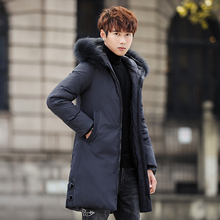 2019 New Men #8217 s Winter Jacket Long Men #8217 s Coat with Zipper Hooded Male Coats High Quality Man Winter Brand Clothing 1811 cheap JUNGLE ZONE Thick (Winter) L1811 REGULAR Casual Full Solid Denim NONE Button Pockets Zippers Appliques Polyester Acetate
