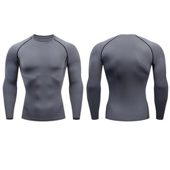 Men Compression Running T Shirt Fitness Tight Long Sleeve Sport tshirt Training Jogging Shirts Gym Sportswear Quick Dry rashgard 6