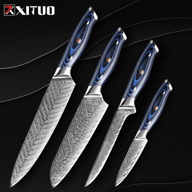 Xituo damasco chef faca profissional japão sankotu cutelo desossamento gyuto faca de cozinha ferramenta de cozinha requintado ameixa rebite lidar com