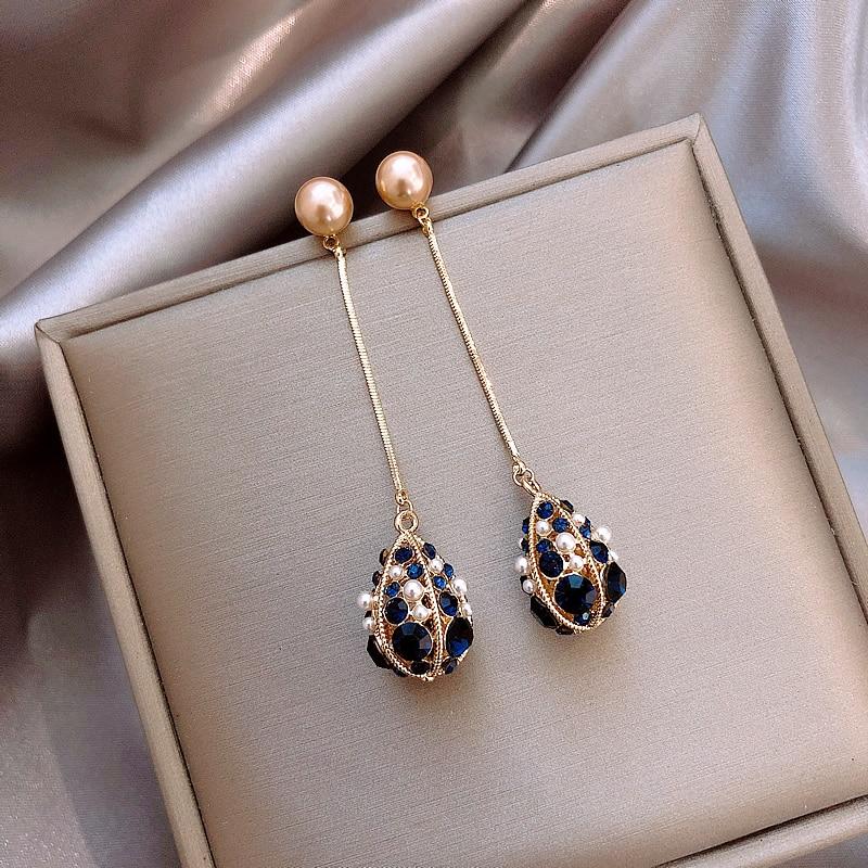 Japan Korean new design hot fashion jewelry elegant water droplets hollow crystal earrings long gold chain earrings for women