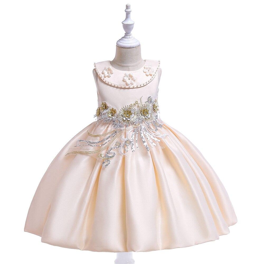 Europe And America Twill Forging Handmade Beading CHILDREN'S Dress Crew Neck Princess Dress Girls Embroidery Flowers Lantern Dre
