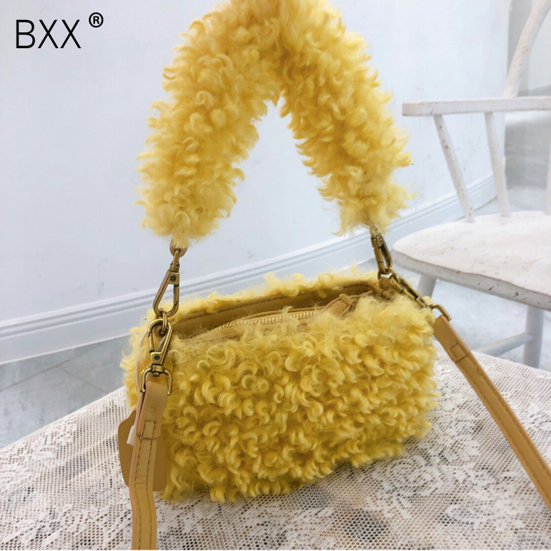 [BXX] Fashion Solid Color Wool Women 2020 Autumn Crossbody Bags For Women Shoulder Bags Large Capacity Chain Shoulder Bag HJ087