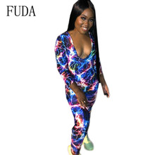 FUDA Sexy Low-cut Personality Tie-dyed Printed Tight-fitting Jumpsuits Long Sleeve Hollow Out Vintage Playsuits Female Rompers