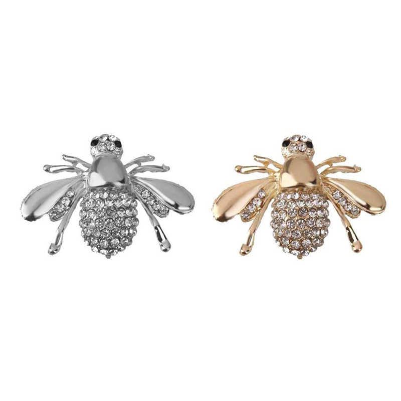 Women Ladies Female Alloy Shiny Realistic Bee Shape Crystal Brooch animal flower needle wedding suit brooch